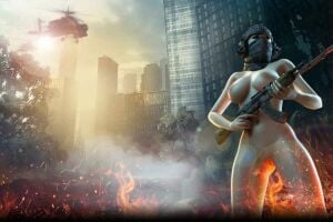Call of Booty artwork with naked girl holding gun