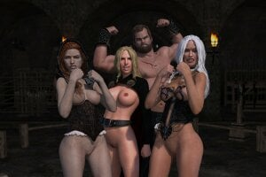 screenshot of Game of Moans gameplay, showing 4 characters