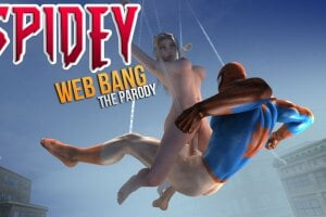 Spidey Web Bang artwork with woman having sex with Spiderman